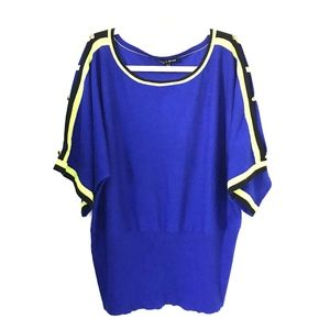 Cable & Gauge* Striped Blue Thin Knit Blouse XL